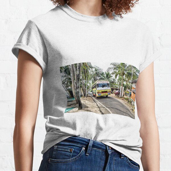 Colourful bus in rural Indian village in Coastal India Classic T-Shirt
