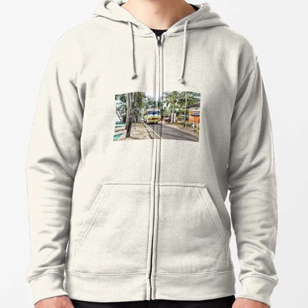 Colourful bus in rural Indian village in Coastal India Zipped Hoodie