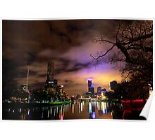 """""""Yarra River and Melbourne Night Skyline"""" Poster"""