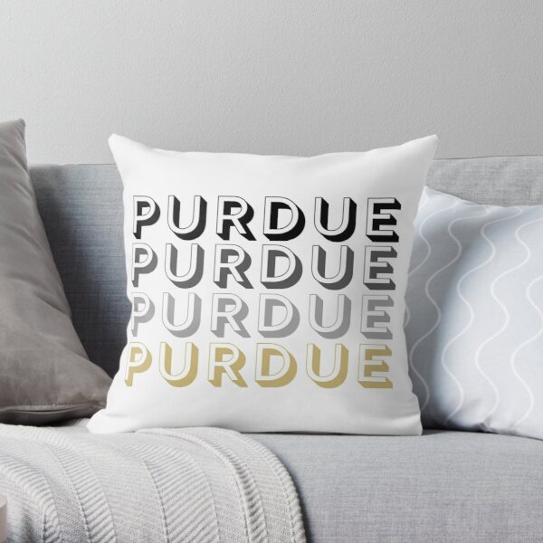 Purdue University Block Letters Throw Pillow