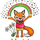 Celebrate Joy: Cute Fox Drawing Watercolor Illustration by mellierosetest
