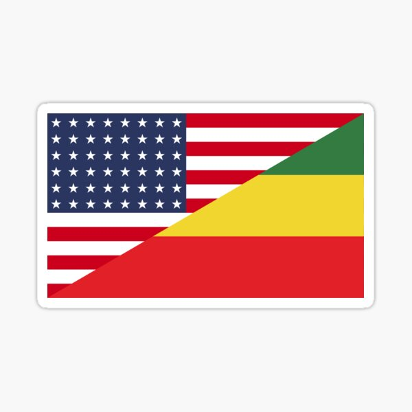 US Ethiopian Flag Sticker