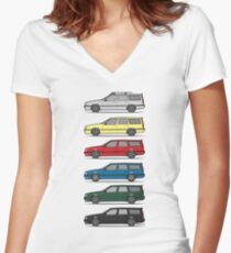A Stack of Volvo 850 V70 T5 Swedish Turbo Wagons Women's Fitted V-Neck T-Shirt