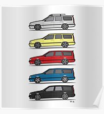 A Stack of Volvo 850 V70 T5 Swedish Turbo Wagons Poster