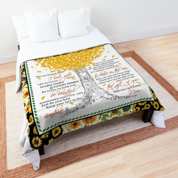 Daughter From Mom Blankets Life Gave Me The Gift Of You Sunflower Themed Family Quote Comforter