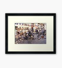 Artists at Piazza Navona (waiting for something to do) Framed Print