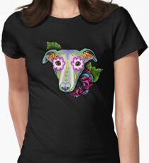 Day of the Dead Whippet / Greyhound Sugar Skull Dog Women's Fitted T-Shirt