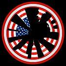 New York City Circular Cityscape - Circular Skyline in American Flag Design by Warren Paul Harris