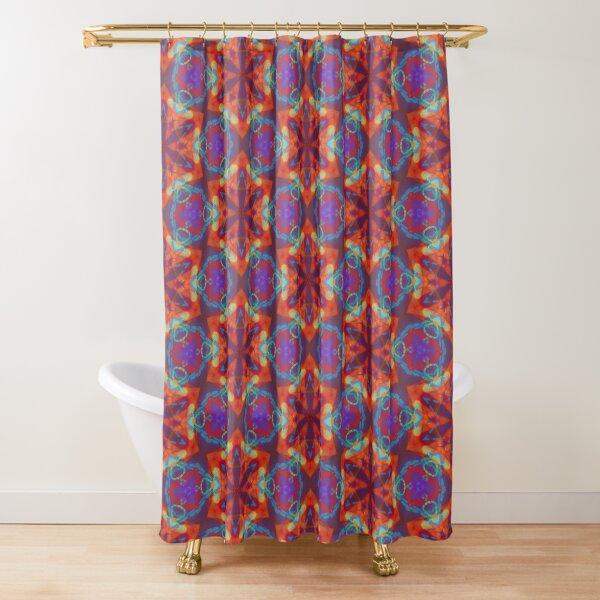 Red Kaleidoscopic Print Shower Curtain