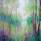 April Echoes, a large green woodland contemporary landscape oil painting of a distant lake seen through the trees of a woodland path by Gill Bustamante