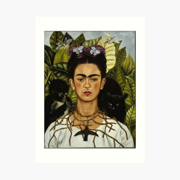 Frida Kahlo's self portrait with monkey and cat Art Print