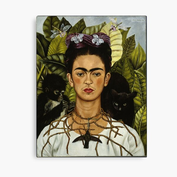 Autoportrait de Frida Kahlo avec singe et chat Impression sur toile