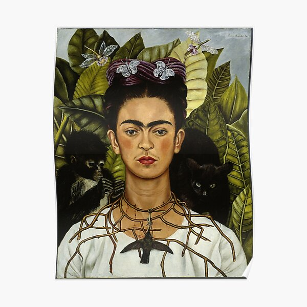 Frida Kahlo's self portrait with monkey and cat Poster