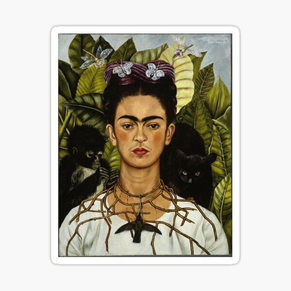 Autorretrato de Frida Kahlo con mono y gato Pegatina