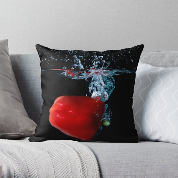 Red Bell Sweet Pepper Dropped Into Water Throw Pillow