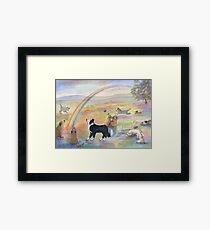 Dogs wait for their humans at Rainbow Bridge Framed Print