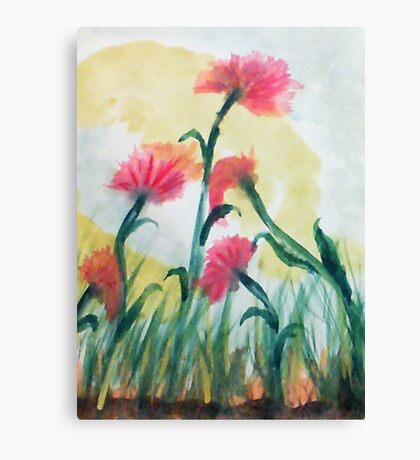 Pink flowers in the wild, watercolor Canvas Print
