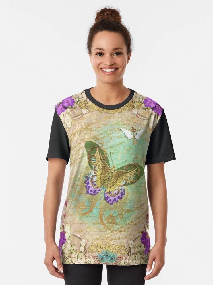 Alternate view of Steampunk Whimsical Butterfly Graphic T-Shirt