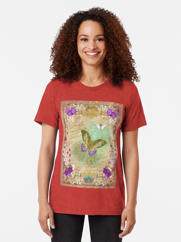 Alternate view of Steampunk Whimsical Butterfly Tri-blend T-Shirt