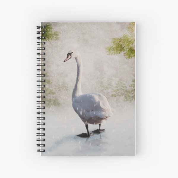 Christmas Swan Spiral Notebook