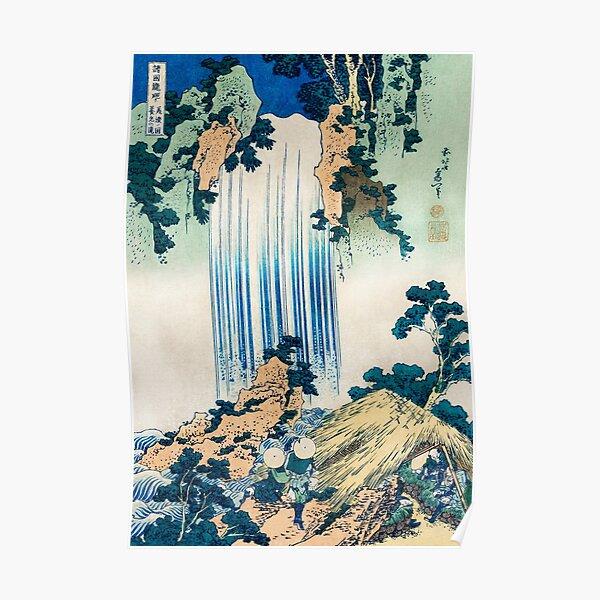 Hokusai Waterfall Japanese Art Vintage Retro Poster