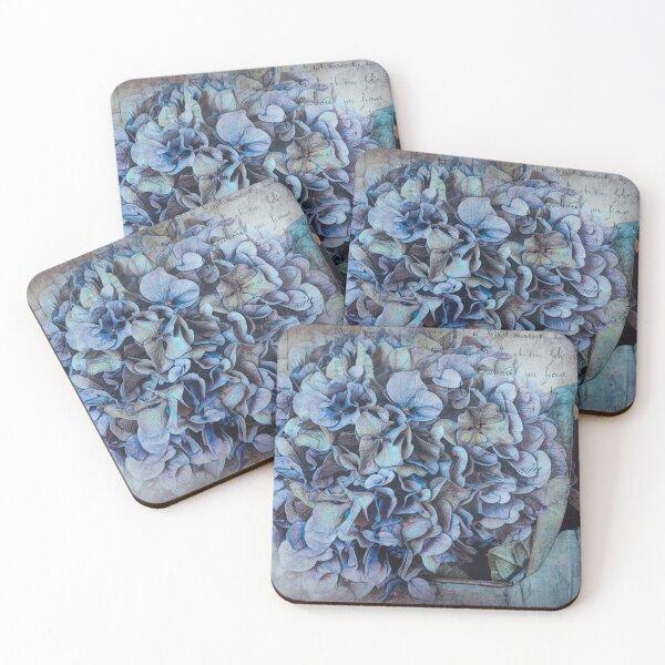 Vintage Postcard Blue Hydrangea Coasters (Set of 4)