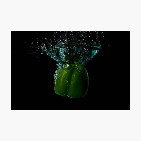 Green Bell Sweet Pepper Dropped Into Water Photographic Print