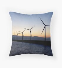 Wind Turbines on Ferry Crossing to Bilbao Throw Pillow