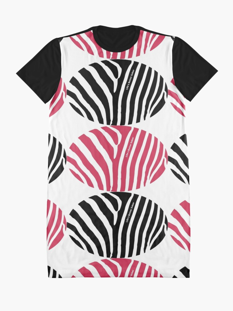 Alternate view of ANSY: Life's Better Sober (in red and black) Graphic T-Shirt Dress