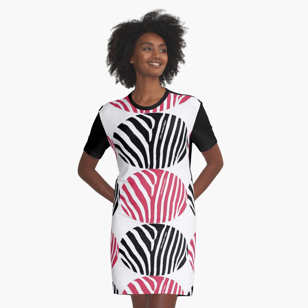 ANSY: Life's Better Sober (in red and black) Graphic T-Shirt Dress