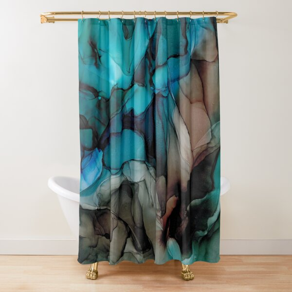 Mystic Blue: Original Abstract Alcohol Ink Painting Shower Curtain