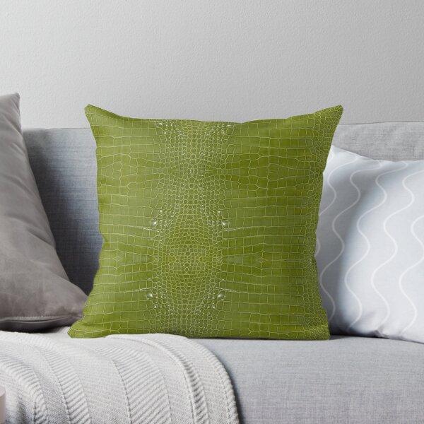 Lime Green Alligator Skin Throw Pillow
