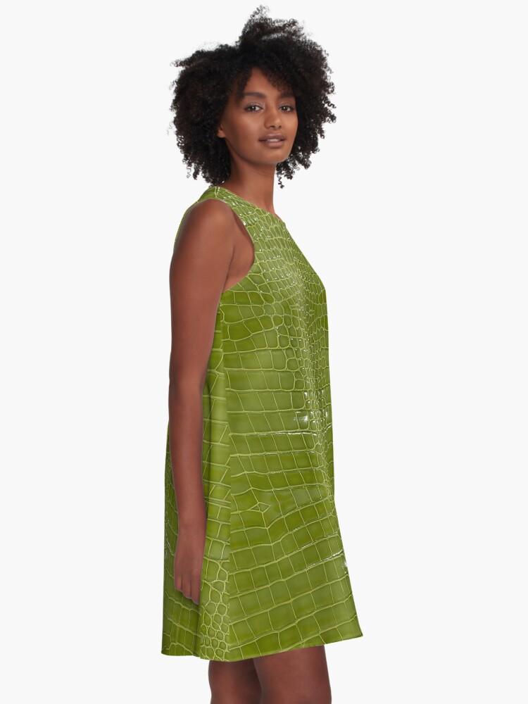 Alternate view of Lime Green Alligator Skin A-Line Dress
