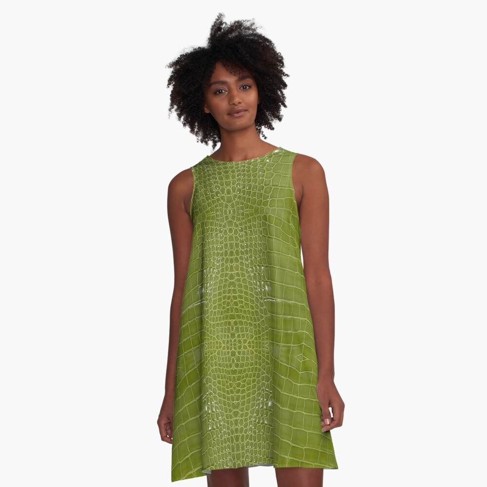 Lime Green Alligator Skin A-Line Dress