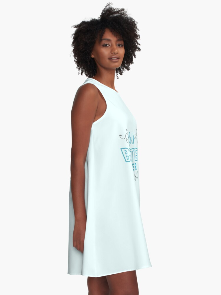 Alternate view of ANSY: Life's Better Sober (Blue and Dark Grey) A-Line Dress