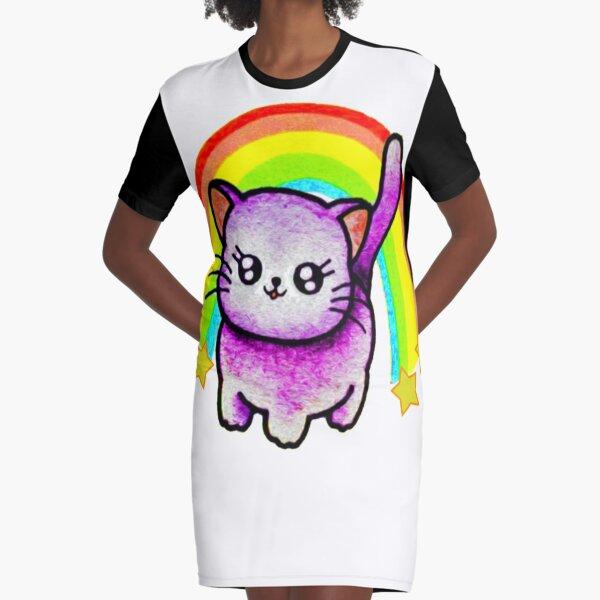 RAINBOW KITTY Graphic T-Shirt Dress
