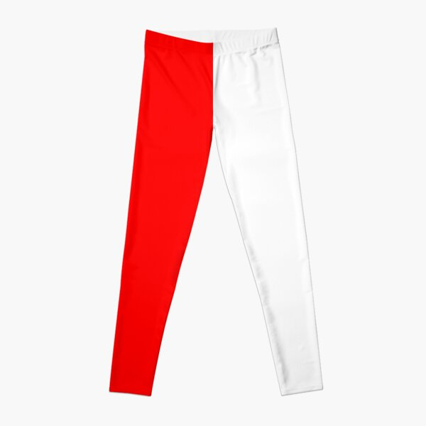 Half White Half Red A-Line Dress Leggings