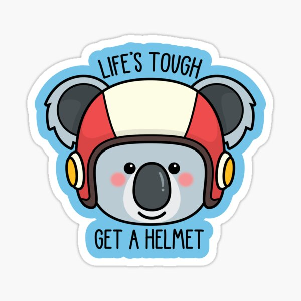Koala with Helmet/Message -- More animals available in my shop! --  Sticker