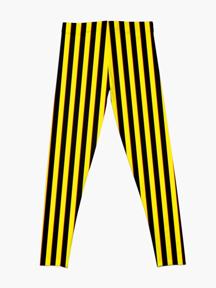 Alternate view of Vertical Stripes Yellow Black and Red Leggings