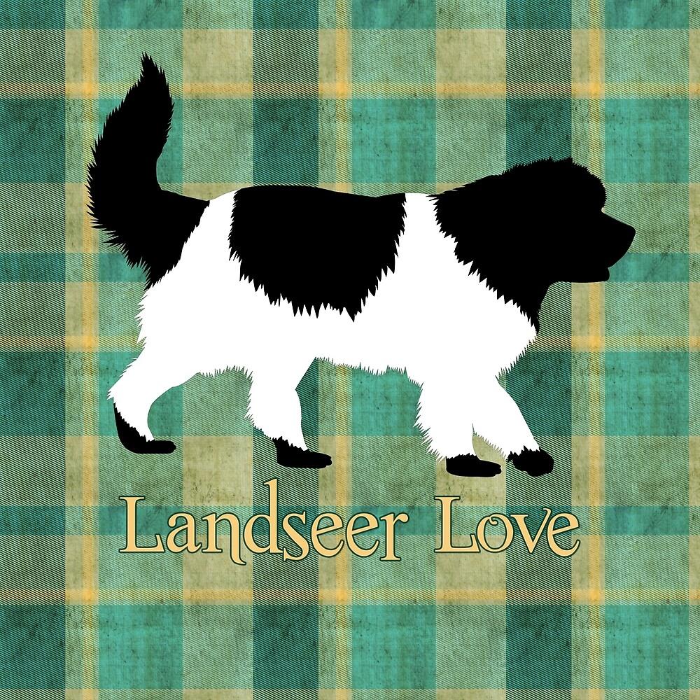 Landseer Love on Plaid by Christine Mullis