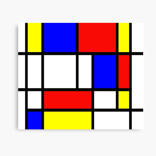 """Piet Mondrian """"Composition 2""""   Color Block with Red Yellow and Blue Canvas Print"""