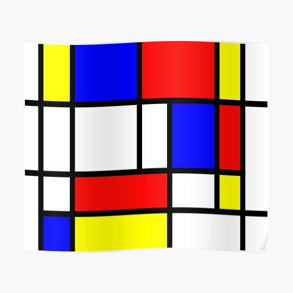 """Piet Mondrian """"Composition 2""""   Bloc de couleur avec rouge jaune et bleu Poster"""