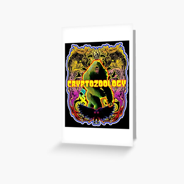 Cryptozoology Colorful Retro Vintage Bigfoot Sasquatch Wendigo Mothman Dogman UFO Greeting Card