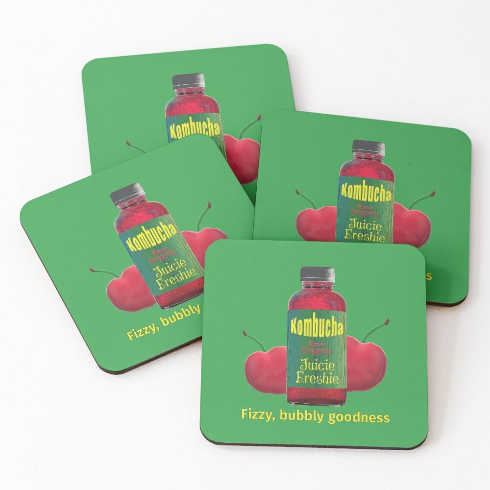 Kombucha. Fizzy Bubbly Goodness. Coasters (Set of 4)