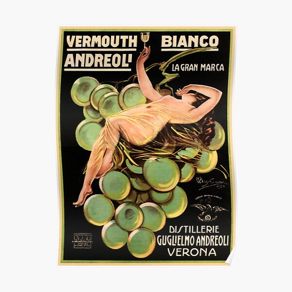 VERMOUTH Bianco Andreoli Verona Vintage Italian Liqueur Advertisement Poster