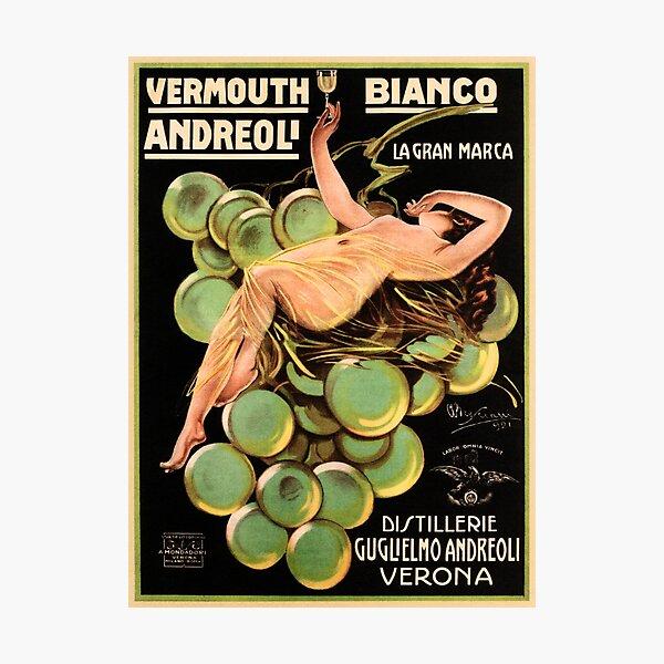 VERMOUTH Bianco Andreoli Verona Vintage Italian Liqueur Advertisement Photographic Print