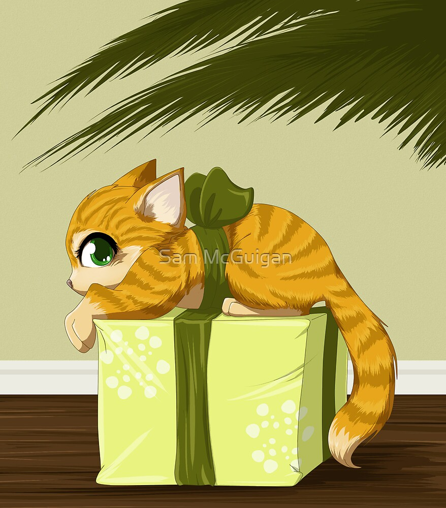 Christmas present kitty by Tunnelfrog