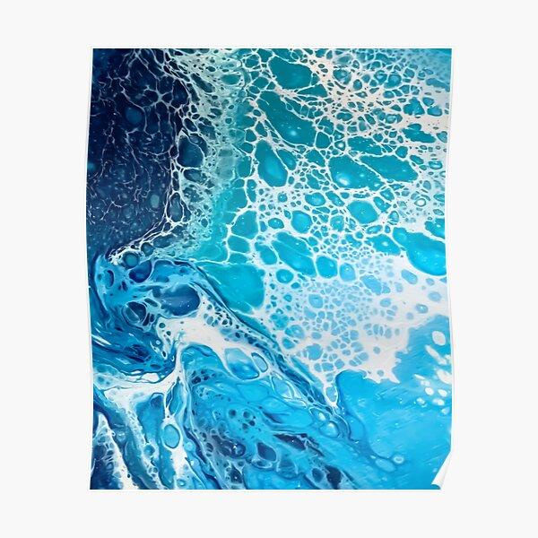 Wave of the Ocean. Fluid art texture Poster