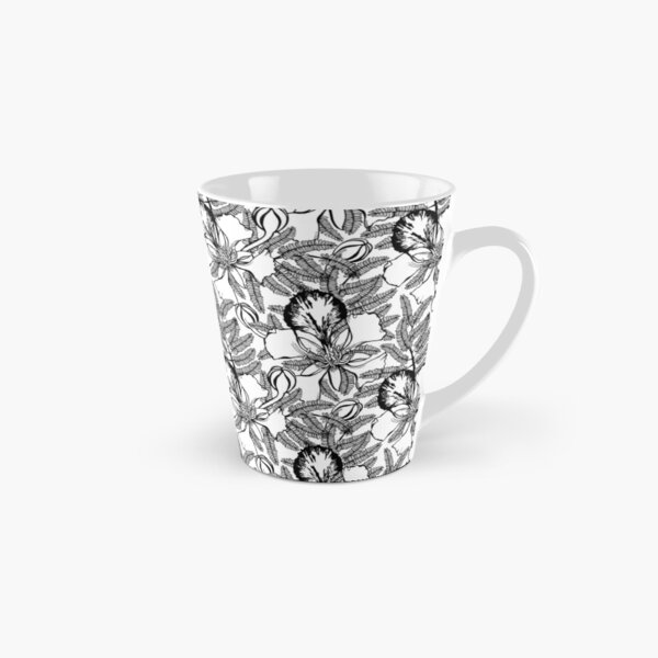 Poinciana Black & White Tropical Summer Tall Mug