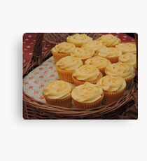 Lemon Cupcake Basket Canvas Print